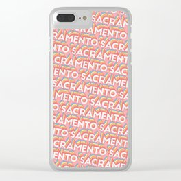 Sacramento Trendy Rainbow Text Pattern (Pink) Clear iPhone Case
