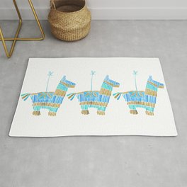 Mexican Donkey Piñata – Blue & Gold Palette Rug
