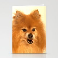 pomeranian Stationery Cards featuring Angry Pomeranian dog by Bruce Stanfield