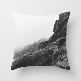 Rugged South Cornish Coast in sea mist. Throw Pillow