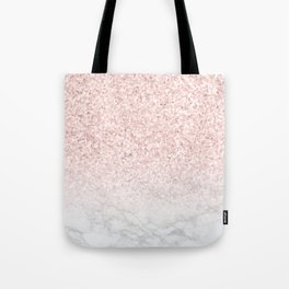 She Sparkles Rose Gold Pink Marble Luxe II Tote Bag