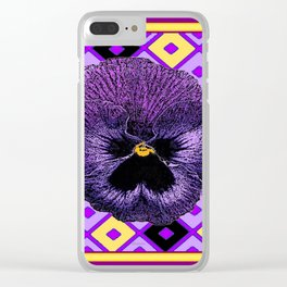 Yellow & Purple Checkered Pansy Pattern Clear iPhone Case