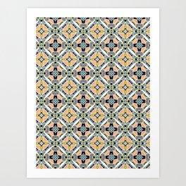 Bold hand drawn floral quilt. Art Print