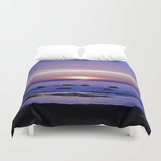 Blue and Purple Sunset on the Sea Duvet Cover