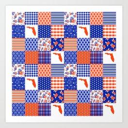 Florida University gators swamp life varsity team spirit college football quilted pattern gifts Art Print