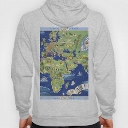 World map wall art 1937 dorm decor mappemonde air france airways Hoody