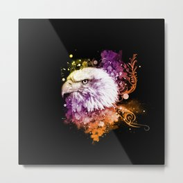 Awesome eagle with flowers Metal Print
