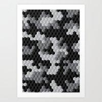 CUBOUFLAGE BLACK & WHITE Art Print