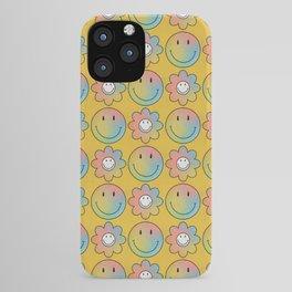 Smiley & Flower Smiley (Yellow Bg) iPhone Case