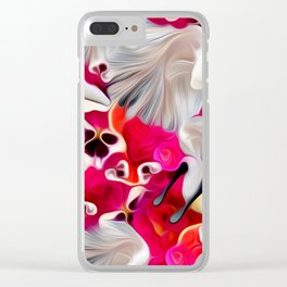 Pink and White Delight Clear iPhone Case