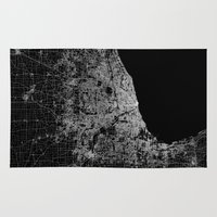 chicago map Area & Throw Rugs featuring Chicago map by Line Line Lines