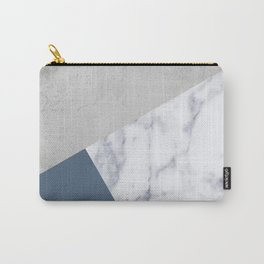 NAVY BLUE MARBLE GRAY GEOMETRIC Carry-All Pouch