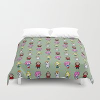 animal crossing Duvet Covers featuring Animal Crossing Design 6 by Caleb Cowan