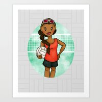 volleyball Art Prints featuring Volleyball Girl by Lunar Fox