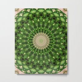 Mandala in vivid green color Metal Print