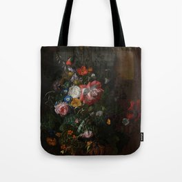 Rachel Ruysch - Roses, Convolvulus, Poppies and other flowers in an Urn on a Stone Ledge (1680) Tote Bag