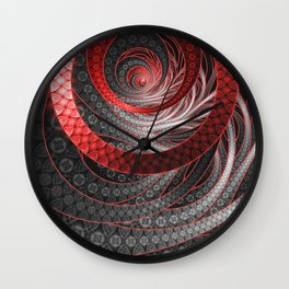 Beautiful Silver and Red Fractal Vampire Scales Wall Clock