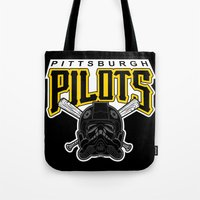 pittsburgh Tote Bags featuring Pittsburgh Pilots by Ant Atomic