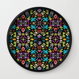 Spooky Halloween creatures in a colorful pattern design Wall Clock