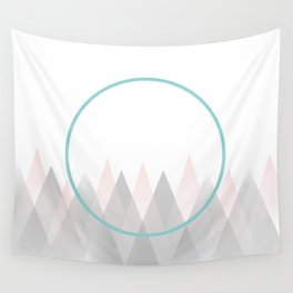 Minimal Abstract Graphic Mountains Circle Blue Pink Gray Wall Tapestry