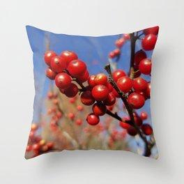 Winterberries glow against a blue autumn sky Throw Pillow