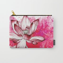Red Lotus Flower Watercolour Pencil Illustration Love Buddhism Carry-All Pouch