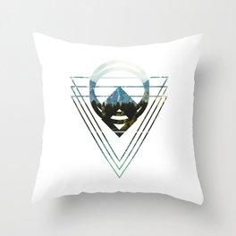 Mountain Lake Triangles Throw Pillow