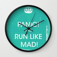 panic at the disco Wall Clocks featuring PANIC by Vin Zzep