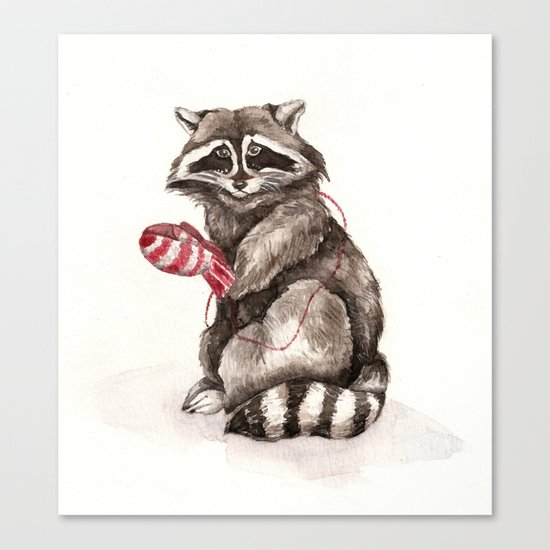 Pensive Raccoon in Red Mittens. Winter Season. Canvas Print