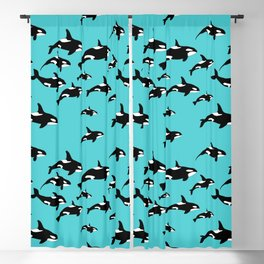 Orca Whale Pattern on Blue Blackout Curtain