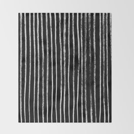 White Line Pattern on Black Throw Blanket