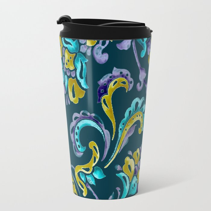 Scroll - Hand Painted Teal Ground Travel Mug