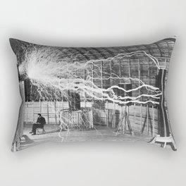 Nikola Tesla with his equipment (circa 1899) Rectangular Pillow