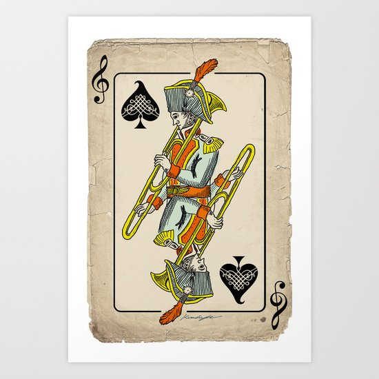 musical poker / trombone Art Print