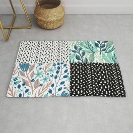 Multiple Leaves and Polka Dot Pattern Rug
