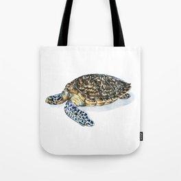 Hawksbill Turtle Watercolor Painting Tote Bag