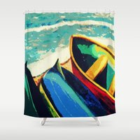 boats Shower Curtains featuring Boats by Christina Rowe