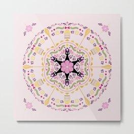 Cat & Sakura Mandala Metal Print
