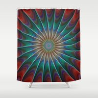 fractal Shower Curtains featuring Peacock fractal by David Zydd