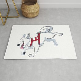 White Husky Running Rug