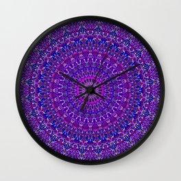 Lace Mandala in Purple and Blue Wall Clock