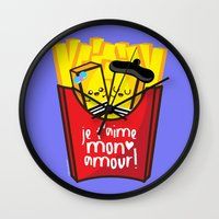 french fries Wall Clocks featuring French Fries by Kleviee