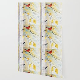 Cardinal on birch Tree Wallpaper