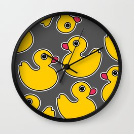 Rubber Duck on Grey Background Wall Clock