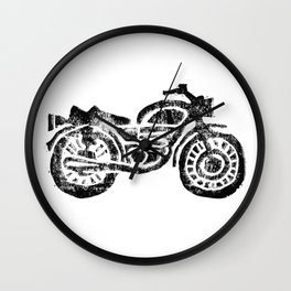 Motorcycle Linocut Block Print Wall Clock