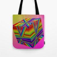 rap Tote Bags featuring rainbow rap by Mango Katz