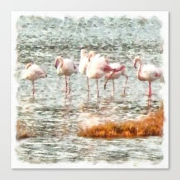 Six Flamingos A Wading Watercolor Canvas Print