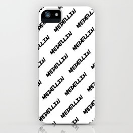 'Medellin' Colombia Hand Letter Type Word Black & White iPhone Case