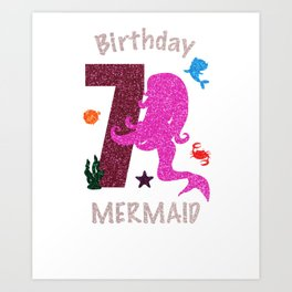 7Th Birthday Mermaid Shirt For Girl Seven Years Old 2001 Art Print