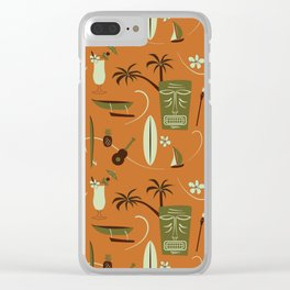 Orange Retro Hawaiian Tiki Hawaii Beach Clear iPhone Case